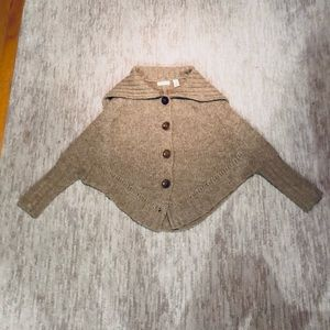 Anthropologie wool cardigan sleeved capelet XS